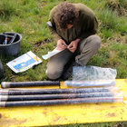 Sampling of vertical soil cores in Germany to estimate carbon and nitrogen profiles and land surface subsidence