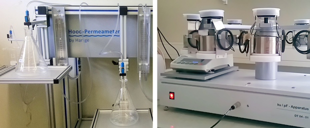 Hood-Permeameter for measuring saturated hydraulic conductivity of soil cores (left) and Evaporation method device for determination of soil retention curves of up to 10 soil cores (right)